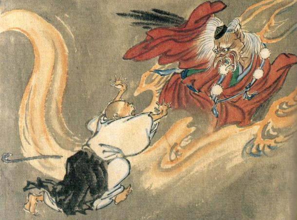 Tengu and a Buddhist monk, the Tengu wears the cap and pom-pommed sash of a follower of Shugendō
