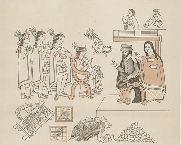 Tenochtitlan, Entrance of Hernan Cortes. Cortes and La Malinche meet Moctezuma II. November 8, 1519.