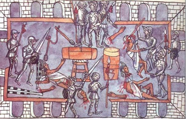 Tensions grew between the Spanish and the Aztecs, culminating in a massacre of Aztec elites in the Great Temple of Tenochtitlan at the hands of the Spanish during the Festival of Toxcati in 1520. (Public domain)