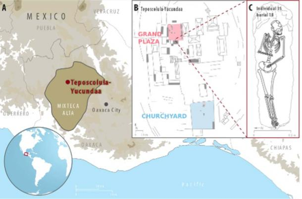 A) The location of the Teposcolula-Yucundaa site in the Mixteca Alta region of Oaxaca, Mexico; B) central administrative area of Teposcolula-Yucundaa showing the relative positioning of the Grand Plaza and churchyard cemetery sites. C) drawing of individual 35 from which the Tepos_35 S. Paratyphi C genome was isolated.