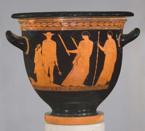 Terracotta bell-krater (bowl for mixing wine and water) depicting (from left to right) Persephone, Hermes, Hekate and Demeter. (The Metropolitan Museum of Art)