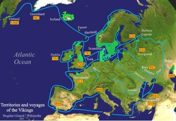 Territories and voyages of the Vikings