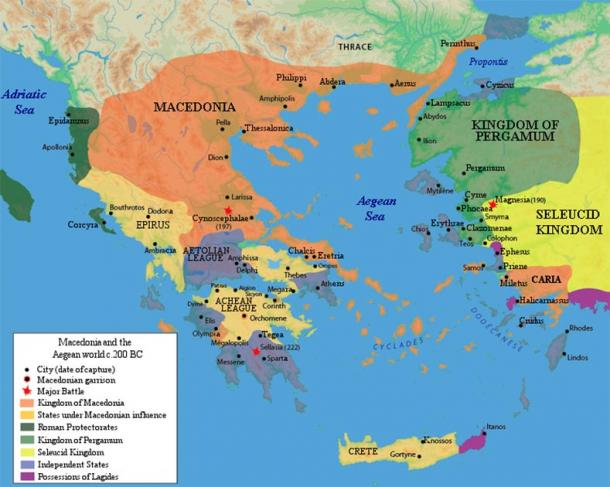 Territory of the Achaean League in 200 BC, excluding Boeotia. (Raymond Palmer / Public Domain)