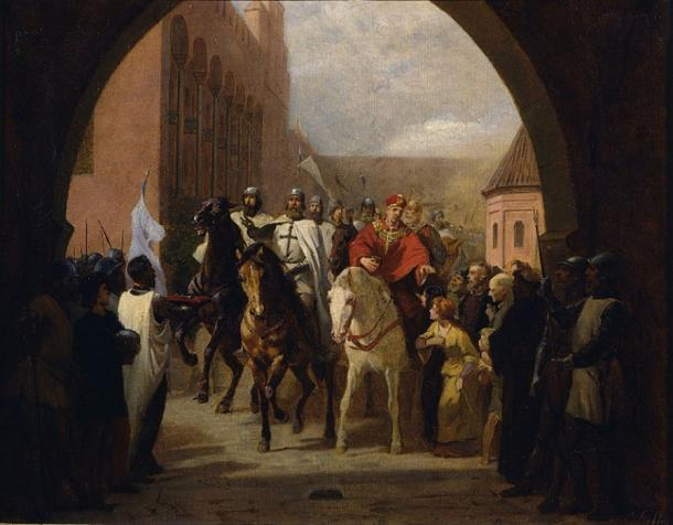 'Teutonic Knight entering Malbork Castle / Entering of the knights in the Marienburg (study)' (1884) by Carl Steffeck. (Public Domain)