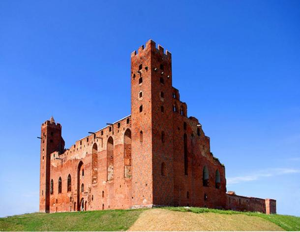 The ruins of the Teutonic castle with towers.