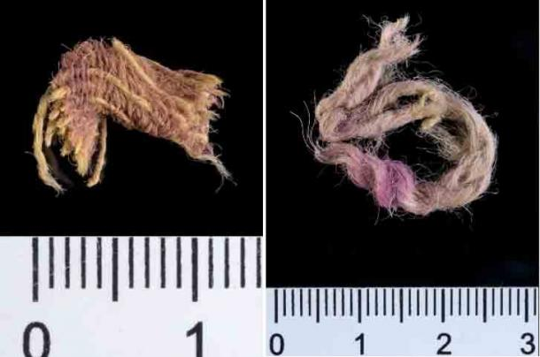Wool textile fragment decorated by threads dyed with Royal Purple, ~1000 BC, Timna Valley, Israel. (Dafna Gazit, courtesy of the Israel Antiquities Authority)