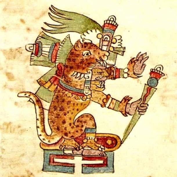 Tezcatlipoca depicted in the codex Rios in the aspect of a Jaguar—in this form he was called Tepeyollotl.