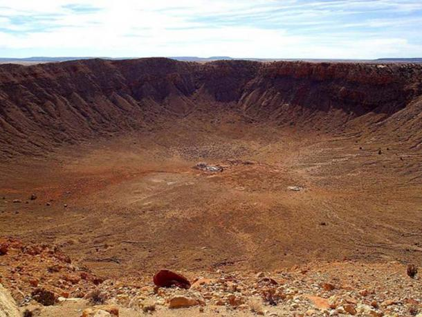 The 50,000-year-old Barringer meteorite crater in Arizona measures 0.737 miles in diameter. (Public Domain)