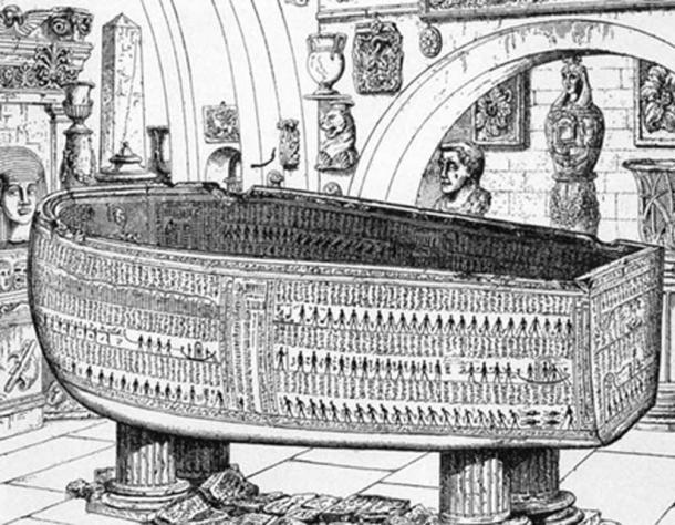 The 9ft 4in alabaster coffin of Seti l now on display at the Soane Museum in London. From Sarcophagus of Seti I, King of Egypt, B.C. 1370 by E.A. Wallis Budge, Sir John Soane's Museum. 1908.