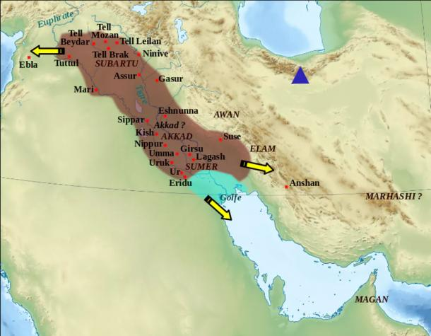 The Akkad empire during the reign of Narâm-Sîn (2254-2218 BC). Mount Damavand is labelled in blue. Zunkir /CC BY SA 3.0