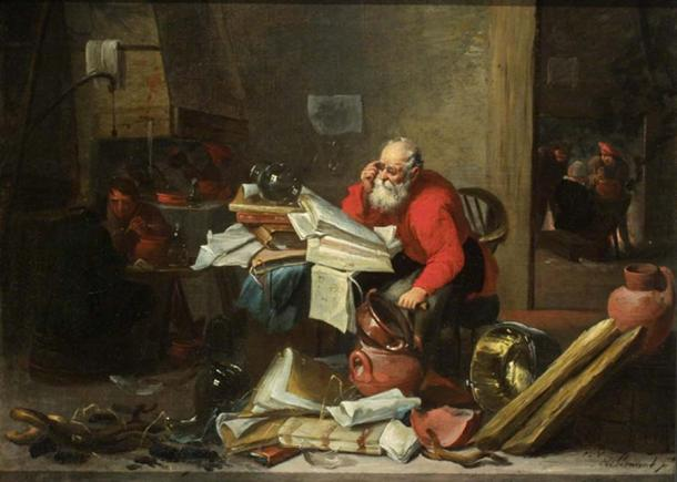'The Alchemist' by Mattheus van Hellemont (public domain)