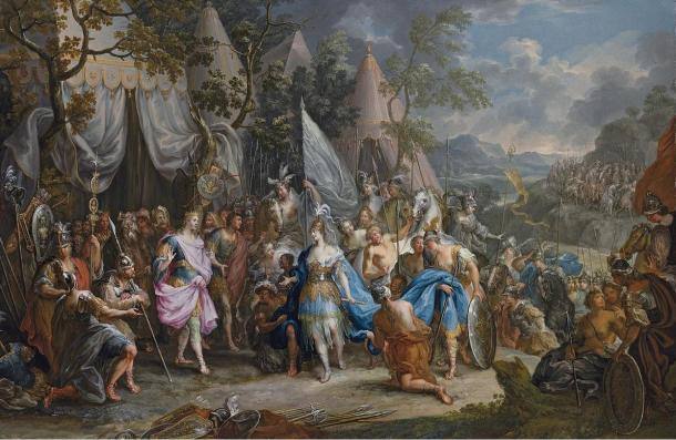 An 18th-century Rococo painting of 'The Amazon Queen Thalestris in the Camp of Alexander the Great', by Johann Georg Platzer