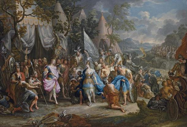 An 18th-century Rococo painting of The Amazon Queen Thalestris in the Camp of Alexander the Great, by Johann Georg Platzer