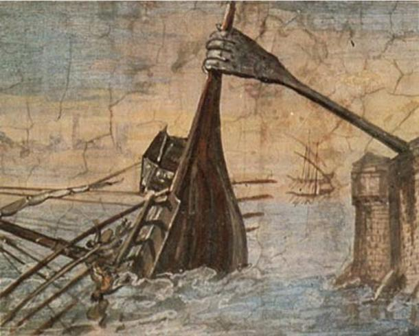 The Archimedes Claw lifting a ship (1599), Giulio Parigi