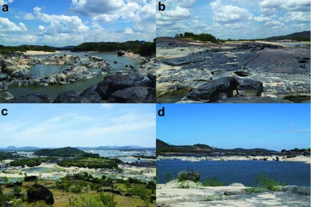 The Atures Rapids. a) View of Raudal Wayuco and Picure (background), facing south; b) Raudal Yavarivén looking west, c) overview of the Atures Rapids from mainland Venezuela (photograph by José Oliver); d) view from Picure looking north towards Cotúa