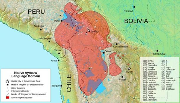 The Aymara speaking region as recorded in 1984. (CC BY-SA 3.0)