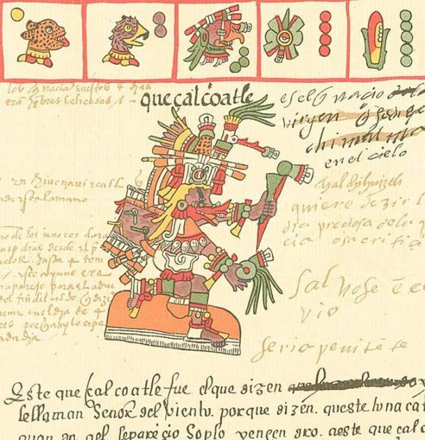 The Aztec god Quetzalcoatl as depicted in the Codex Telleriano-Remensis (16th century).