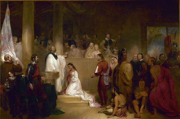 'The Baptism of Pocahontas' (1840) by John Gadsby Chapman. (Public Domain)