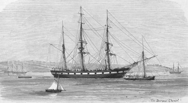 The Barque Chevert moored in Elizabeth Bay, 1875, prior to the departure of the New Guinea Expedition. Anonymous, 'The New Guinea Expedition', Australasian Sketcher June 12, 1875, 38 & 44. (Public Domain)