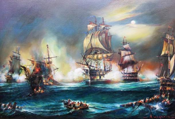 'The Battle of Preveza,' by Theodor Christou. Oil painting of the historical naval battle between the Ottoman navy under Hayreddin Barbarossa Pasha and the Western Christian navy under Captain Andrea Doria.