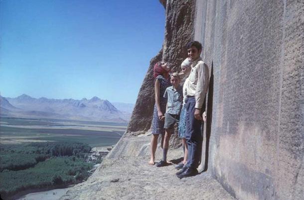 The Behistun inscription, high above the ground in Iran.