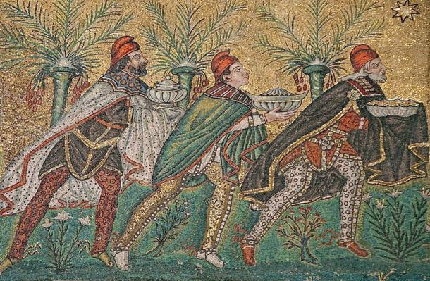 The Biblical magi bearing gifts of frankincense, gold, and myrrh