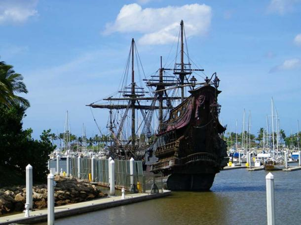 The Black Pearl film prop used in Pirates of the Caribbean, representative of Blackbeard's ship Queen Anne's Revenge