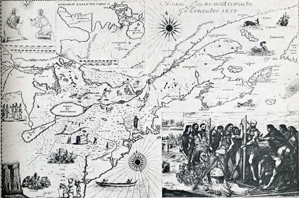 The Bressani map of 1657 depicts the martyrdom of Jean de Brébeuf and Gabriel Lalemant. (Public Domain)