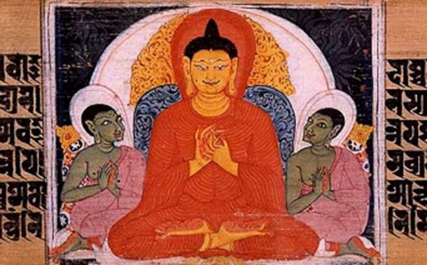 The Buddha teaching the Four Noble Truths. Sanskrit manuscript. Nalanda, Bihar, India.