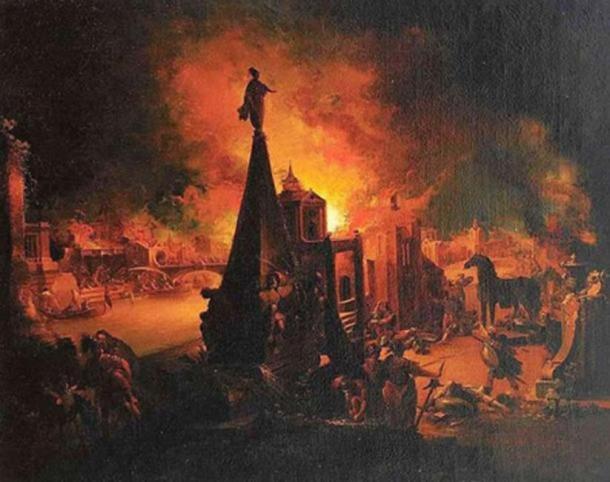 'The Burning of Troy' (1759/62) by Johann Georg Trautmann. ( Public Domain )