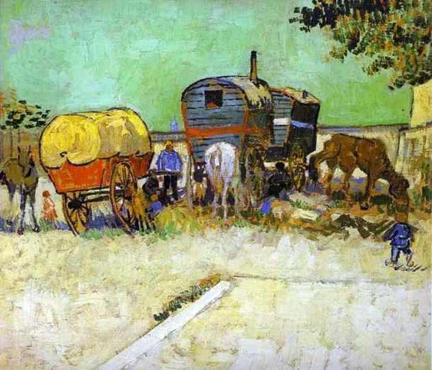 'The Caravans - Gypsy Camp near Arles' by Vincent van Gogh. (Public Domain)