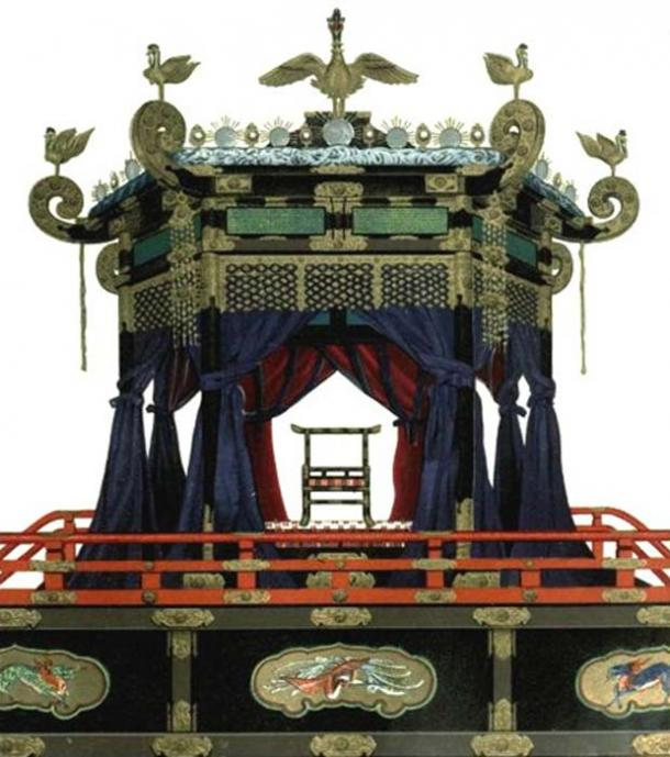 The Chrysanthemum Throne at the Kyoto Imperial Palace is used for accession ceremonies. It was last used during the enthronement of Naruhito in May 2019 the final ceremony will occur 22 October 2019 marking the end of the transition period. (Mallowtek / Public Domain)