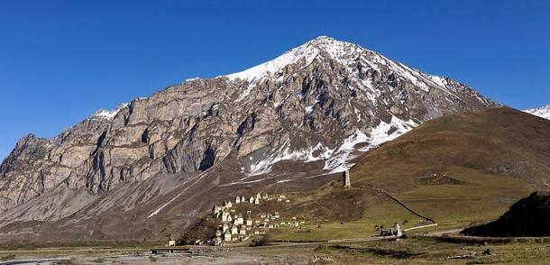 Mountain looming over Dargavs: The City of the Dead