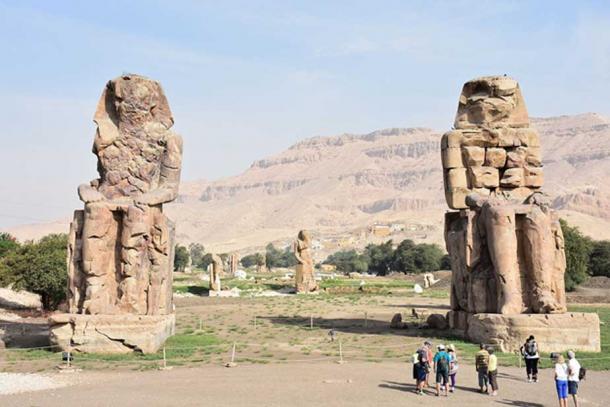 The Colossi of Memnon in the Theban Necropolis, Luxor, Egypt, 2015.