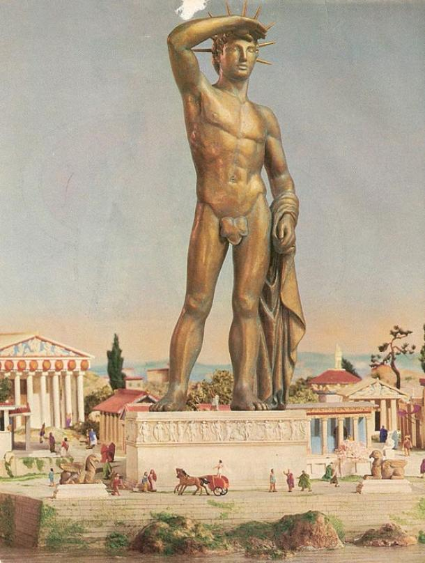 The Colossus of Rhodes, and its possible stance/appearance.