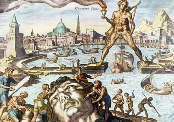The Colossus of Rhodes, depicted in this hand-colored engraving, was built about 280 BC. Standing 30 meters (100 feet) high, it was built to guard the entrance to the harbor at Rhodes. The ancient Greeks and Romans considered it to be one of the Seven Wonders of the World.