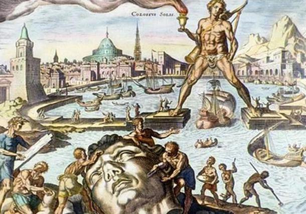 The Colossus of Rhodes, depicted in this hand-colored engraving, was built about 280 BC. Standing 30 meters (100 feet) high, it was built to guard the entrance to the harbor at Rhodes.