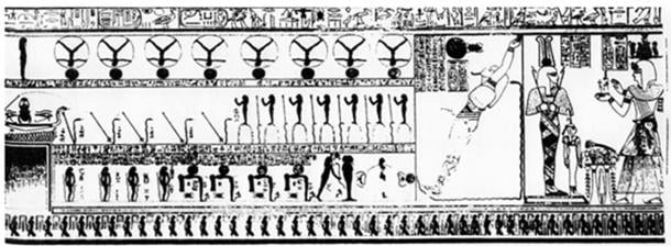 """rom """"The Complete Valley of the Kings"""" by Reeves & Wilkinson page 169, described as a Highly symbolic scenes from the third corridor of the tomb of Ramesses IX. Includes representations from an unknown book of the netherworld along with enigmatic cryptographic inscriptions."""