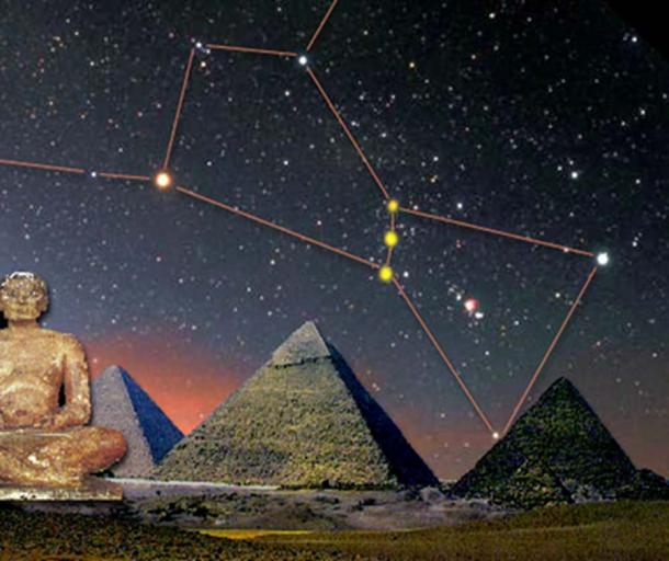 The Constellation of Orion - especially the three stars of the 'Belt' - could have appeared to a hypothetical Egyptian priest of the middle of the third millennium BC (or... much earlier?) who had observed the sky from the Giza Plain (Image: Courtesy of Dr Volterri / Deriv).
