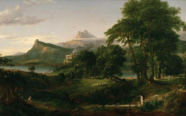 'The Course of Empire: The Arcadian or Pastoral State' (1834) by Thomas Cole. (Public Domain) Vanaheimr, as the home of the Norse nature gods, may have had an appearance similar to this.