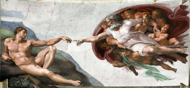 The Creation of Adam is a fresco painted by Michelangelo, the work started at 1508 and finished 1512, it appears on the ceiling of the Sistine Chapel. It illustrates the Biblical story from the Book of Genesis in which God the Father breathes life into Adam, the first man. (CC0)