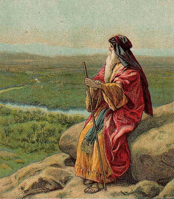 The Death of Moses, as in Deuteronomy 34:1-12, illustration from a Bible card published 1907 by the Providence Lithograph Company.