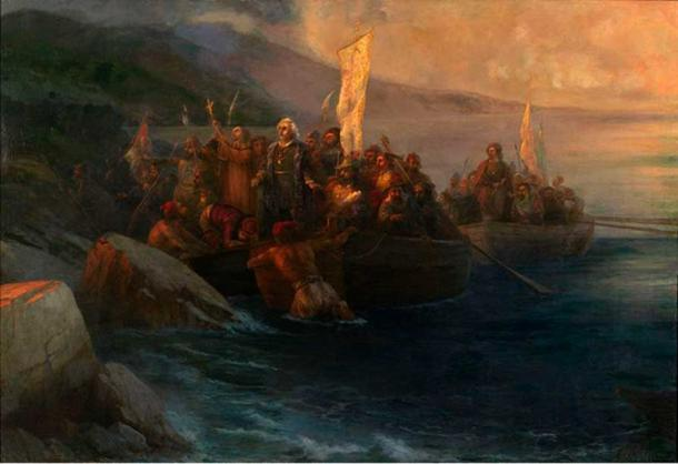 The Disembarkation of Christopher Columbus with Companions on Three Launches, on Friday 12th October 1492. (Ivan Aivazovsky, 1817-1900).