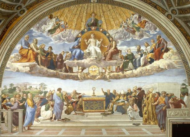 The Disputation of the Sacrament at the Vatican Museum depicts heaven as a realm in the skies above earth. (Erzalibillas / Public Domain)