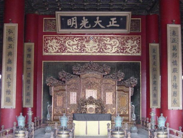 The Dragon Throne of the Emperor of China now stands vacant in the Forbidden City.