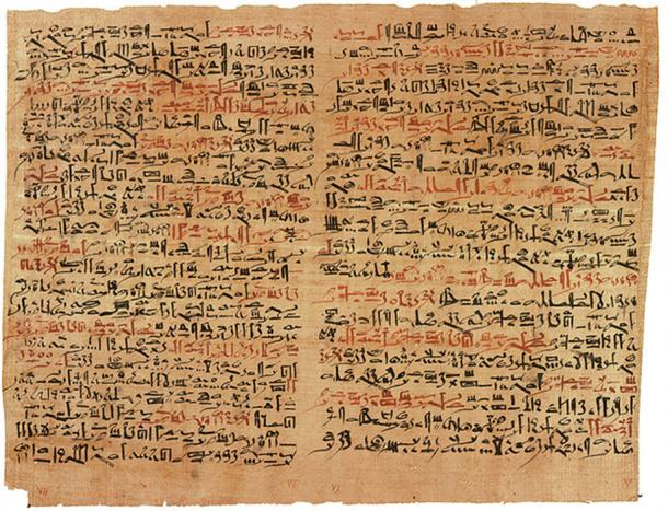 The Edwin Smith papyrus, the world's oldest surviving surgical document. Written in hieratic script in ancient Egypt around 1600 B.C., the text describes anatomical observations and the examination, diagnosis, treatment, and prognosis of 48 types of medical problems in exquisite detail. Plate 6 and 7 of the papyrus, pictured here, discuss facial trauma. (Public Domain)