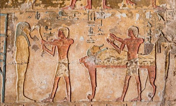 The Egyptian mouth-opening ceremony. Relief in the tomb of Renni