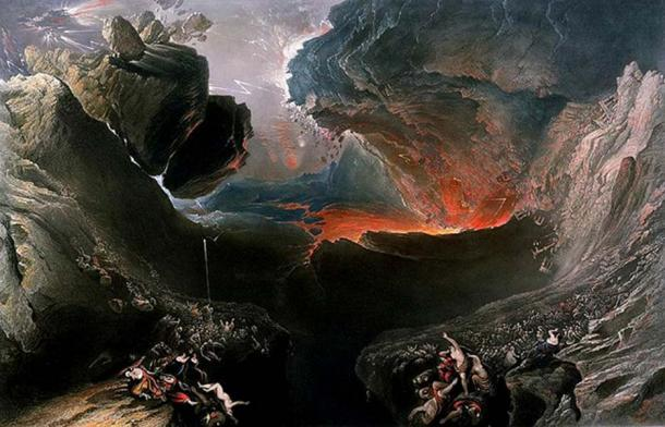 "John Martin's The End of the World, which depicts the ""destruction of Babylon and the material world by natural cataclysm""."