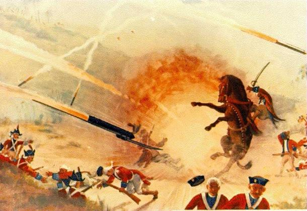 The English confrontation with Indian rockets came in 1780 at the Battle of Guntur. The closely massed, normally unflinching British troops broke and ran when the Indian Army laid down a rocket barrage in their midst. (Public Domain)