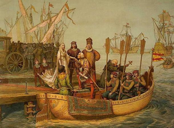 'The First Voyage' Christopher Columbus bidding farewell to the Queen of Spain on his departure for the New World, August 3, 1492.